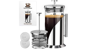 glass and stainless steel french press for freshly brewed coffee