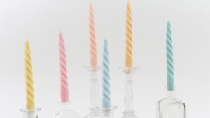 pastel spiraled tapered candles