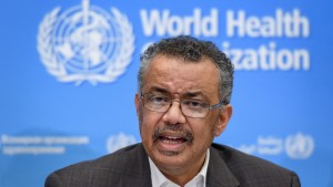 World Health Organization Director-General Tedros Adhanom Ghebreyesus speaks during a press conference in January 2020.