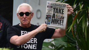 Roger Stone makes an appearance outside his house wearing a Free Roger Stone T-Shirt.