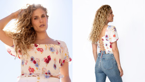 cream blouse with a colorful floral design