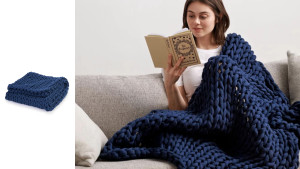 hand-knit cotton weighted blanket in multiple colors