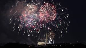 Fireworks are set off on the National Mall over the Washington Monument, Lincoln Memorial and US Capitol Building as part of celebrations for Independence Day