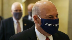 U.S. Postmaster General Louis Dejoy arrives at a meeting at the office of Speaker of the House Rep. Nancy Pelosi
