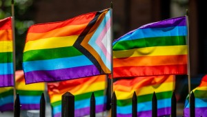 The Stonewall Monument is decorated with pride flags the Stonewall Inn protests
