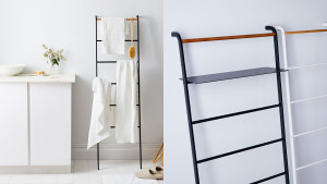 leaning ladder for blankets and towels