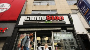 People pass a GameStop store in lower Manhattan on September 16, 2019 in New York City.