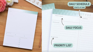 daily notepad with different sections for organization