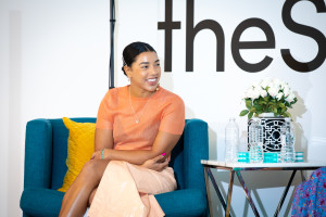 Hannah Bronfman on the couch