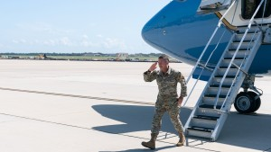 U.S. Army Gen. Scott Miller, the former top U.S. commander in Afghanistan, salutes Secretary of Defense Lloyd Austin and Joint Chiefs Chairman Gen. Mark Milley, upon his return on July 14, 2021 at Andrews Air Force Base, Maryland.