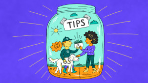 Person tipping dog walker inside a tip jar