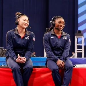 Suni Lee and Simone Biles are interviewed after the Women's competition