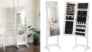 jewelry cabinet that locks with a front-facing mirror