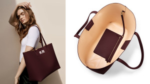 structured leather tote that can be monogramed