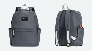 gray backpack with side pockets, front pocket, and padded shoulder straps