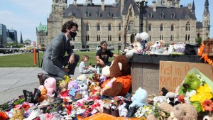Canadian Prime Minister Justin Trudeau visits the makeshift memorial erected in honor of the 215 indigenous children remains found at a boarding school.