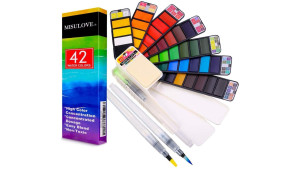 compact watercolor set with 42 colors and brushes that dispense water