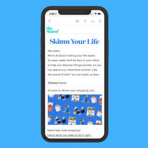 Skimm Your Life newsletter on phone