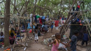 Haitian migrants are pictured in a makeshift encampment where more than 12,000 people hoping to enter the United States await under the international bridge in Del Rio, Texas