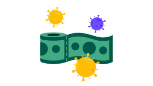 toilet paper roll of money surrounded by coronavirus