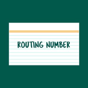 Routing Number index card