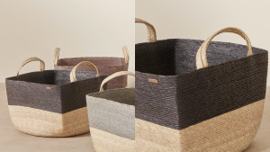 hand-woven fiber baskets for extra storage space