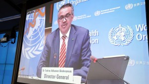 Director general of the World Health Organization Tedros Adhanom Ghebreyesus and President of the European Council Charles Michel.
