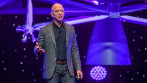 """Jeff Bezos, founder of Amazon, Blue Origin and owner of The Washington Post via Getty Images, introduces their newly developed lunar lander """"Blue Moon"""""""