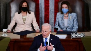 President Joe Biden addresses a joint session of congress as Vice President Kamala Harris (L) and Speaker of the House U.S. Rep. Nancy Pelosi (D-CA) (R) look on in the House chamber of the U.S. Capitol on April 28, 2021 in Washington, DC.