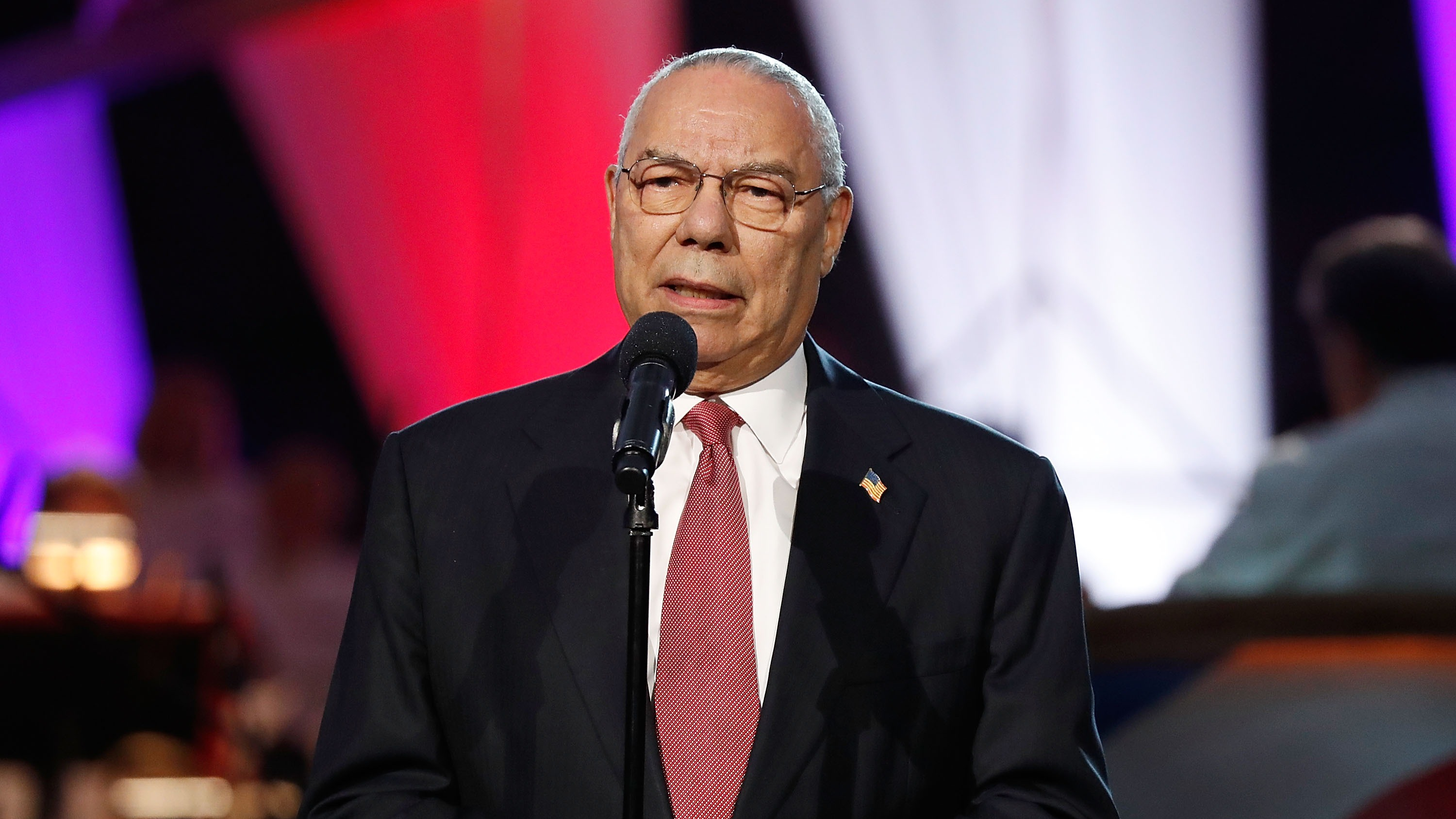 Distinguished American leader General Colin L. Powell, USA (Ret.) speaks during the 2018 National Memorial Day Concert