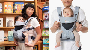 mesh baby carrier that can hold your baby in four different positions