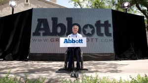 Greg Abbott, who is permanently paralyzed after a freak accident in his 20's, announces his run for governor.