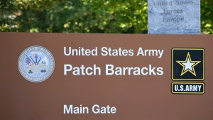The main gate of the United States European Command (EUCOM) headquarters at the Patch Barracks is seen in Stuttgart, southern Germany, on July 29, 2020.