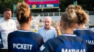 NC Courage head coach Paul Riley addresses his team after a game between Portland Thorns FC and North Carolina Courage
