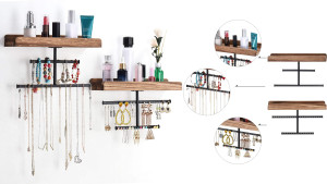 floating wall shelves with built-in jewelry storage