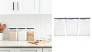 airtight storage containers for foods like grains, cereal, rice, pasta, and flour
