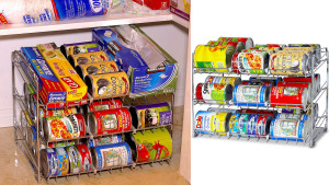 metal rack holder for round cans