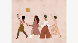 progress print meant to symbolize unity, four women holding hands marching