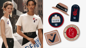 shirt with iron-on vote patches