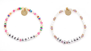 inspirational quote beaded bracelets with white beads and colored beads