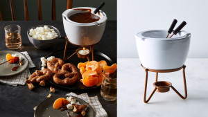 fondue pot with sticks for dipping sweets and fruit