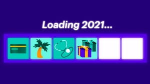 Loading bar with money tasks leading to 2021