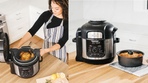 kitchen appliance that has nine functions in one, like broiling, dehydrating, steaming, baking, and more
