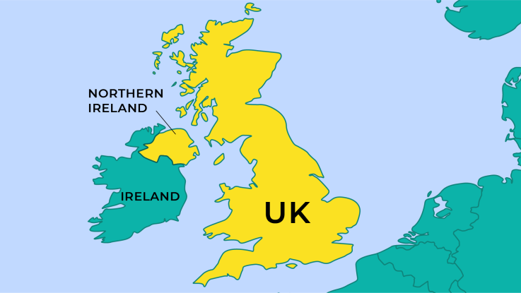 Map of Ireland, Northern Ireland, and the UK