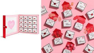 love letter-themed candy box to countdown to valentine's day