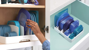 plastic storage organizer to separate and hold your food container lids of different sizes