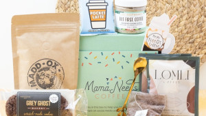 monthly subscription box for moms filled with goodies and sweet treats