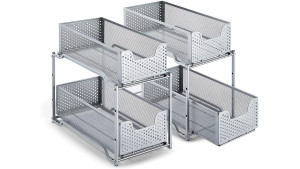 metal two-tier sliding storage units for under-sink organization