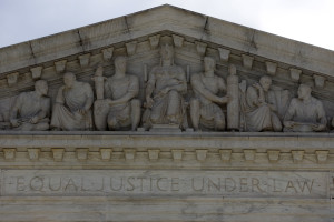 A detail of the exterior of the U.S. Supreme Court building