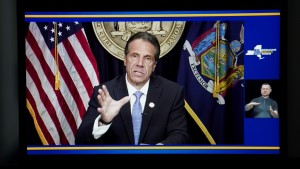 Photo taken from a video in New York, the United States, shows New York Governor Andrew Cuomo speaking during a televised address